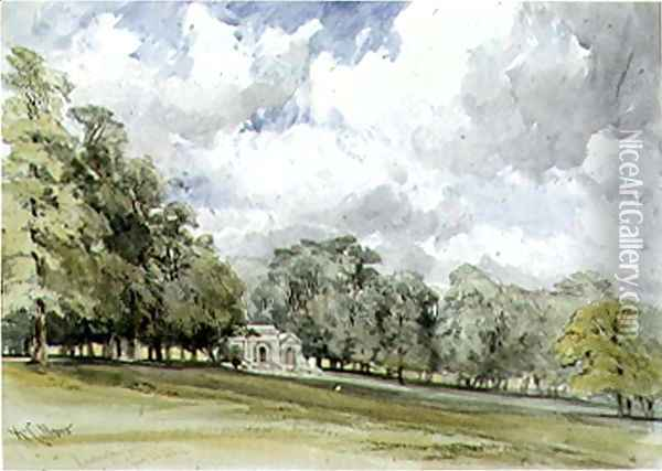 View in Kensington Gardens showing the Temple Cottage Oil Painting - William Callow