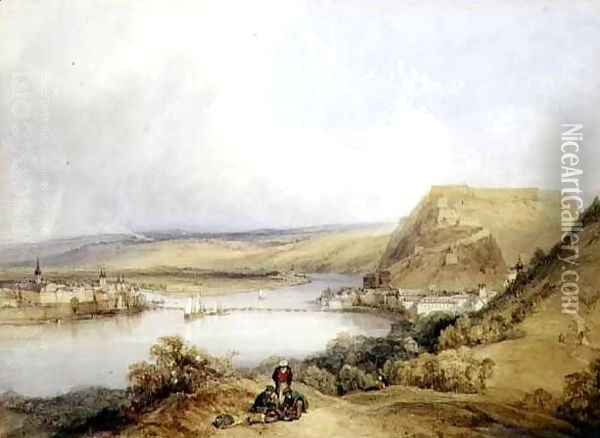 Ehrenbreitstein and Koblenz from the Heights of Pfaffendorf, 1839 Oil Painting - William Callow