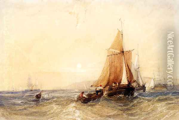 Fishing Boats Off The Coast At Sunset Oil Painting - William Callow