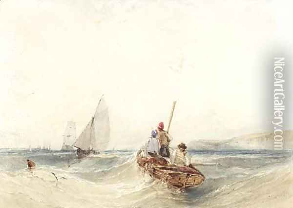 A fishing boat in rough seas Oil Painting - William Callow