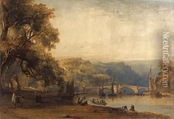 On the banks of the Thames at Richmond, Surrey Oil Painting - William Callow
