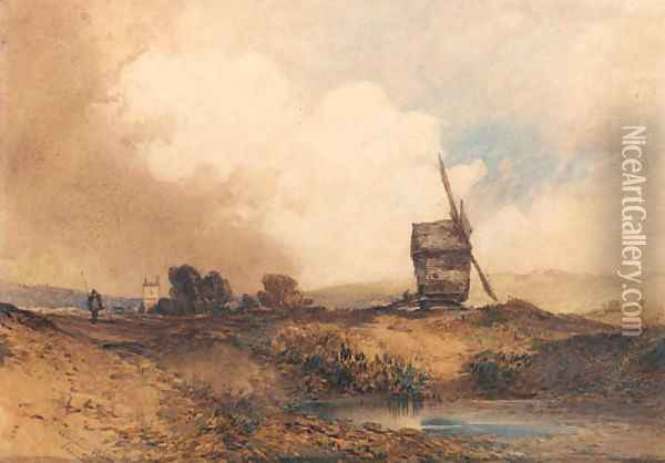A windmill in a hilly landscape with a church beyond Oil Painting - William Callow