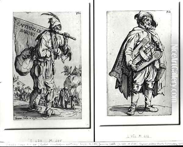A Beggar and a Hurdy-Gurdy Player Oil Painting - Jacques Callot
