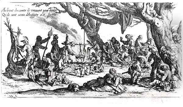 A Birth in a Gypsy Camp Oil Painting - Jacques Callot
