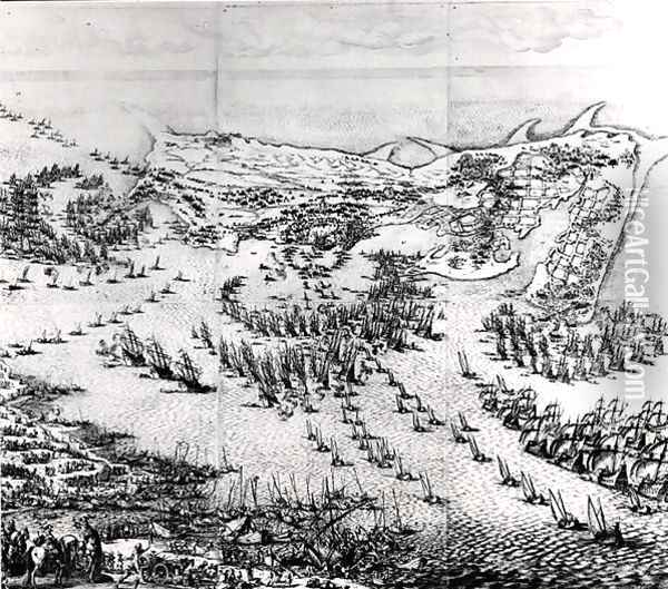 The Siege of the Citadel of Saint-Martin-de-Re in 1627, 1628-31 Oil Painting - Jacques Callot