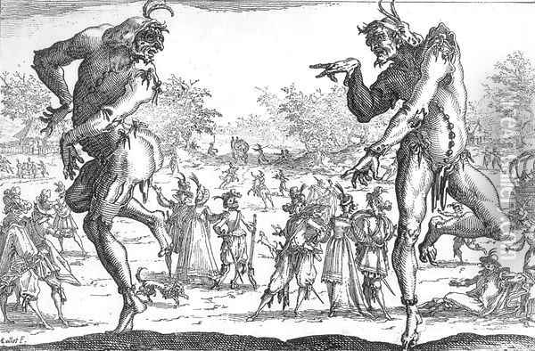 The Two Pantaloons 1616 Oil Painting - Jacques Callot