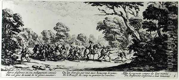The Discovery of the Brigands, plate 9 from 'The Miseries and Misfortunes of War' 1633 Oil Painting - Jacques Callot