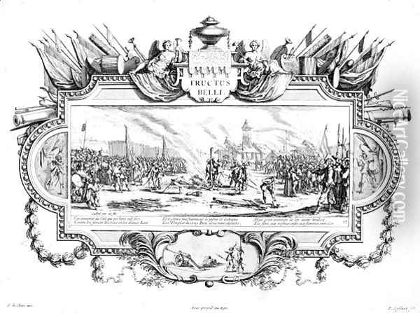The Pyre, plate 13 of 'The Miseries and Misfortunes of War' Oil Painting - Jacques Callot