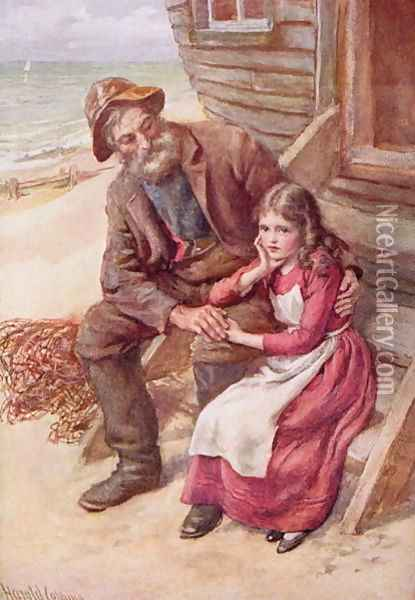 Peggotty and Little Emily Oil Painting - Harold Copping