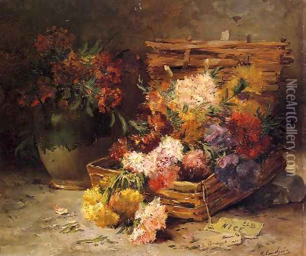 Still Life of Flowes in a Vase and a Basket Oil Painting - Eugene Henri Cauchois
