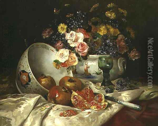 Still life of flowers in a Chinese vase with pomegranates Oil Painting - Eugene Henri Cauchois