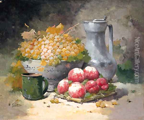 Grapes in a Bowl with Peaches and a pewter Jug Oil Painting - Eugene Henri Cauchois