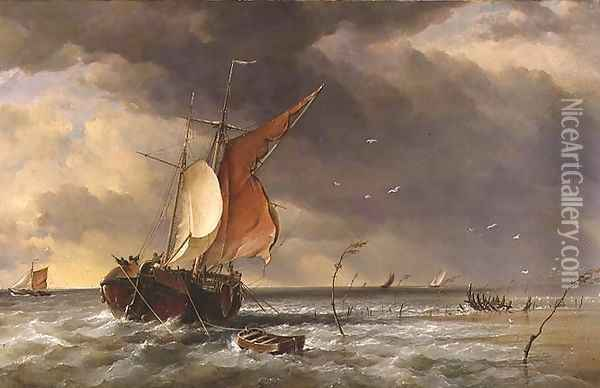 A Dutch Galliot aground on a sandbank on the Bies Bosch, 1878 Oil Painting - Edward William Cooke