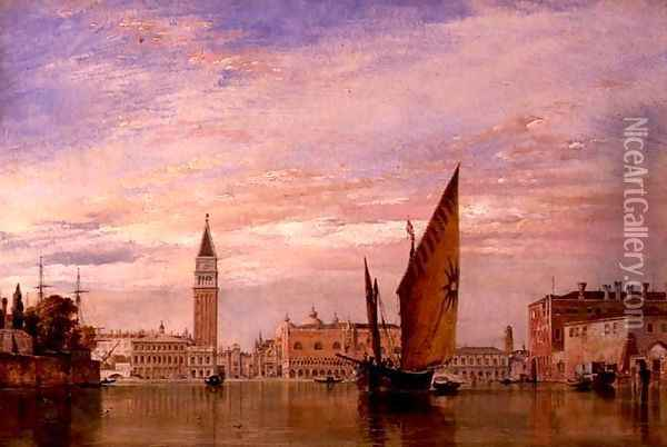 Venetian fishing craft caught in a Borasca in the Adriatic Oil Painting - Edward William Cooke