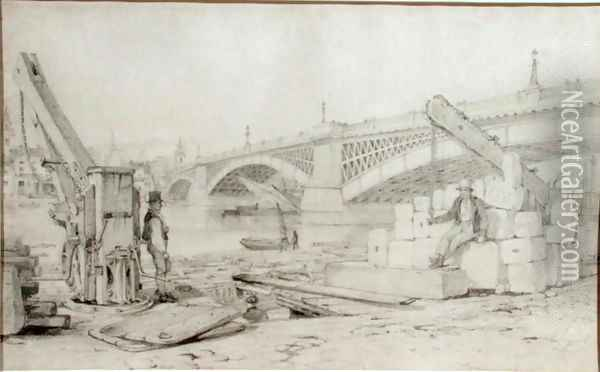 View of Southwark Bridge and the River Thames from Bankside, with two derricks in the foreground, 1827 Oil Painting - Edward William Cooke
