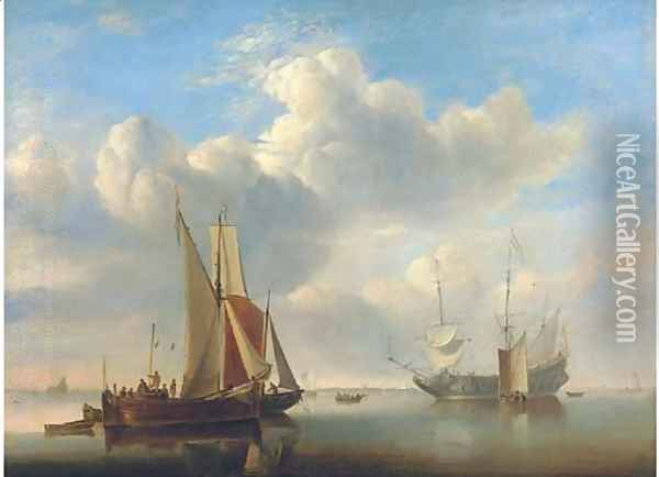 A wijdschip and a kaag under sail in a very light air Oil Painting - Edward William Cooke