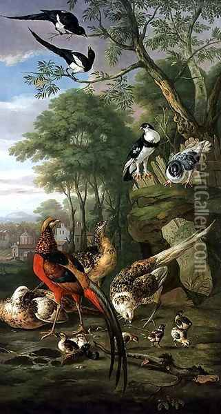 Cock pheasant, hen pheasant and chicks and other birds in a classical landscape Oil Painting - Pieter Casteels