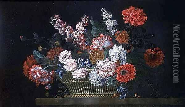 A Still Life of Carnations, Stocks, Peonies, Convolvulus and Other Flowers in a Basket Resting on a Stone Ledge, 1734 Oil Painting - Pieter Casteels