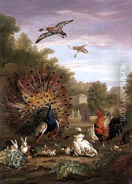 Peacock and Rabbits in a Landscape Oil Painting - Pieter Casteels