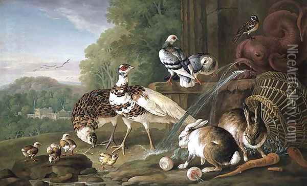 Birds and Rabbits Oil Painting - Pieter Casteels