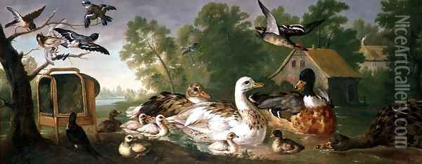 Ducks and Birds in a landscape Oil Painting - Pieter Casteels