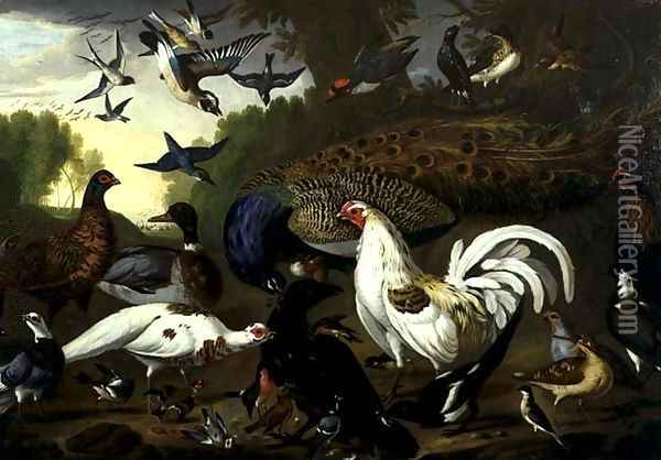 The Fable of the Raven with a Peacock, Cockerel, Woodpecker, Jay, Woodcock, and Magpie Oil Painting - Pieter Casteels