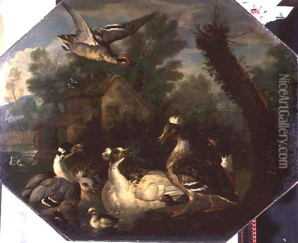 Ornamental Waterfowl and their Ducklings on a Mill Pond Oil Painting - Pieter Casteels