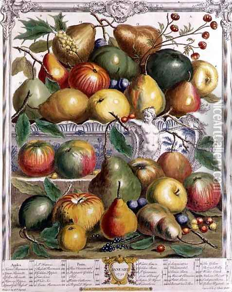 January, from 'Twelve Months of Fruits' Oil Painting - Pieter Casteels