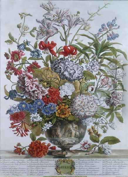 July, from 'Twelve Months of Flowers' Oil Painting - Pieter Casteels