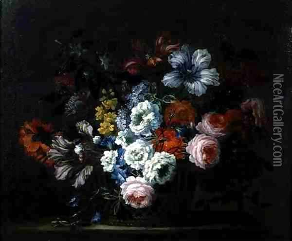 Still Life of Roses, Peonies, Tulips and Morning Glory in a Basket Oil Painting - Pieter Casteels