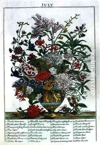 July, from 'The Flower Garden Displayed' Oil Painting - Pieter Casteels