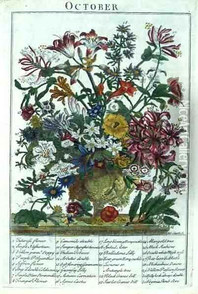 October, from 'The Flower Garden Displayed' Oil Painting - Pieter Casteels