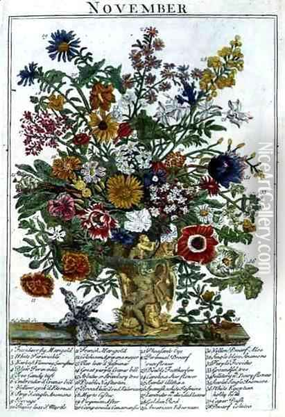 November, from 'The Flower Garden Displayed' Oil Painting - Pieter Casteels
