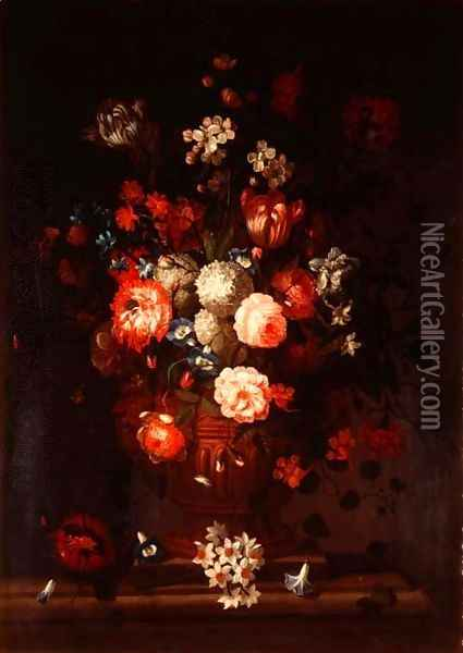 Still life, mixed flowers Oil Painting - Pieter Casteels