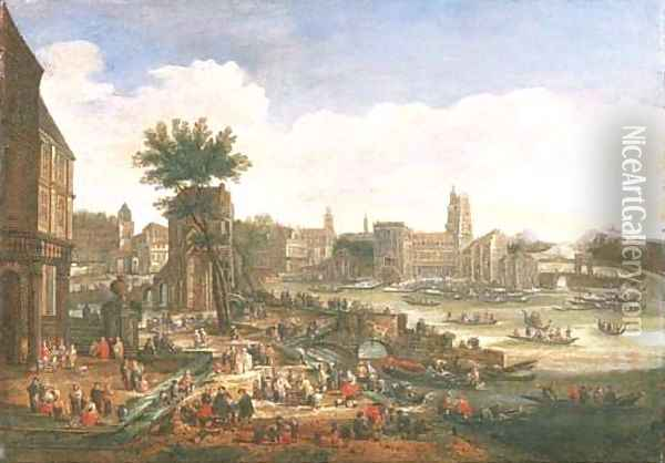 A capriccio of a port with numerous figures and shipping Oil Painting - Pieter Casteels