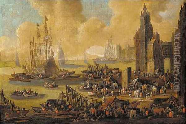 A capriccio of a northern harbour, with townsfolk, merchants, stevedores and sailors on the quays and in boats Oil Painting - Pieter Casteels