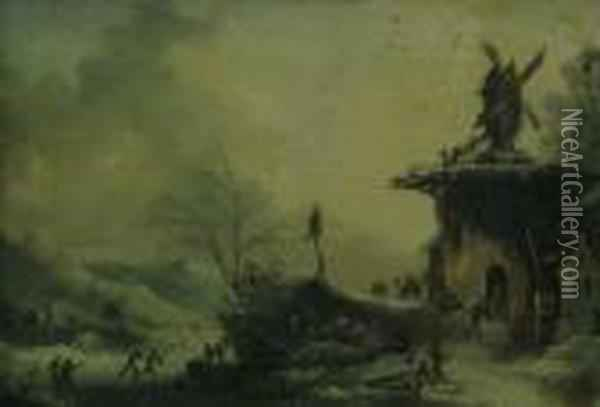Winter Landscapes With Figures Oil Painting - Francesco Foschi