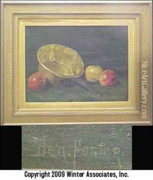 Still Life, Brass Pot And Apples Oil Painting - Ben Foster