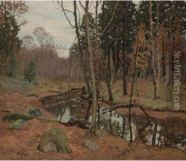 A Creek In The Woods Oil Painting - Ben Foster
