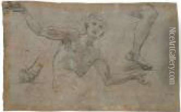 A Sheet Of Studies: A Male  Figure, Half Length, His Arms Outstreched, And Separate Studies Of A  Left Leg And Right Foot Oil Painting - Baldassarre Franceschini
