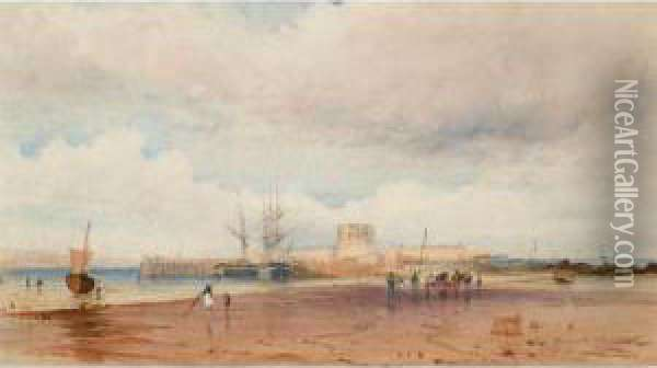 Fort St. Aubyn, Jersey Oil Painting - Count Alexandre Thomas Francia