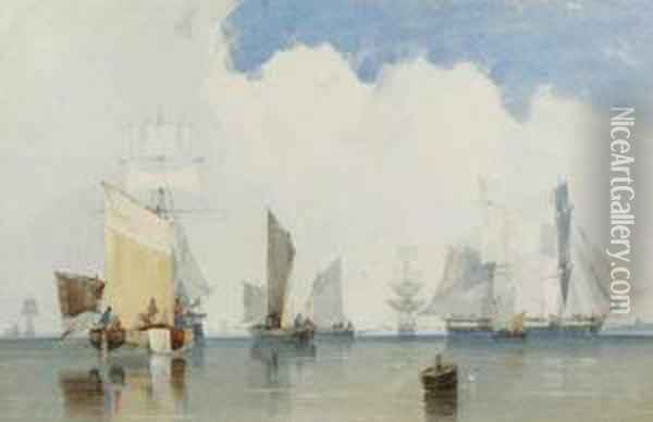 Fishing Boats In A Harbour Oil Painting - Count Alexandre Thomas Francia