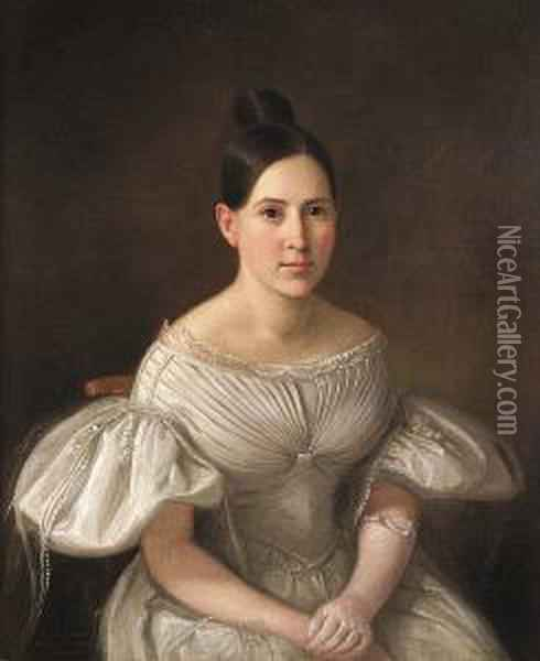 Portrait Of A Young Girl Dressed In White Oil Painting - John Francis