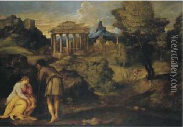 Landscape With Figures, Possibly The Journey To Bethlehem Oil Painting - Battista Franco