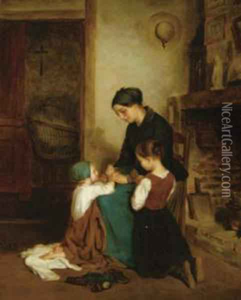 A Mother And Her Two Children Saying Their Prayers Oil Painting - Edouard Frere