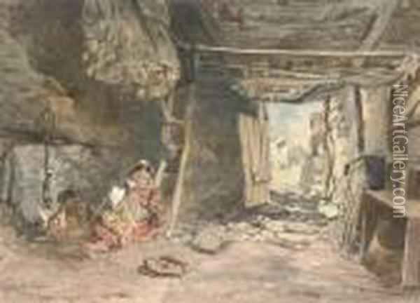 Interior Of A Fisherman's Cabin, Galway Oil Painting - Alfred Downing Fripp