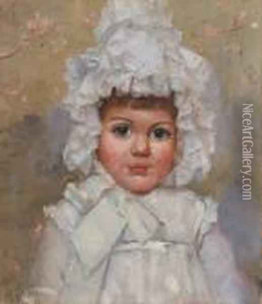 Bonnets And Eyes, A Portrait Of Lorna Smith Oil Painting - Thomas William Roberts