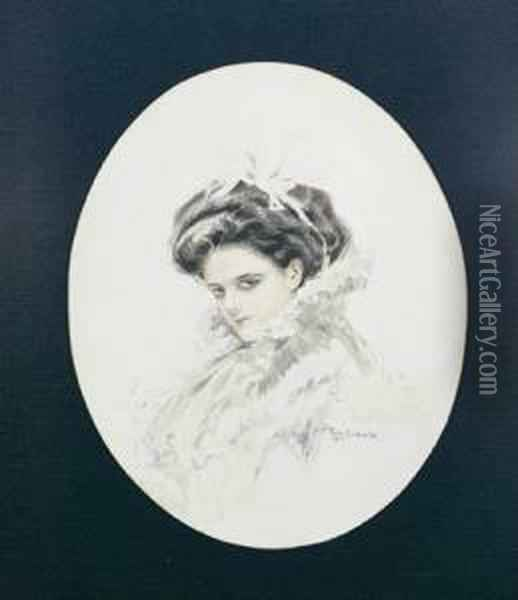 Portrait Of Mrs Leonard Dodds Oil Painting - Thomas William Roberts