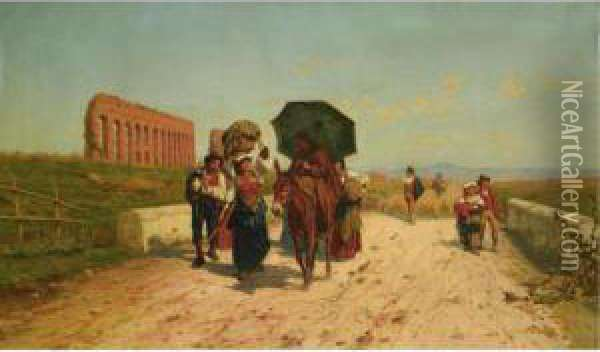 Journeying Toward Rome Oil Painting - Pietro Gabrini