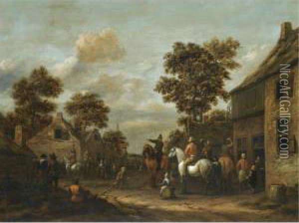 A Village Scene With Cavaliers And Other Figures Before A Tavern Oil Painting - Barent Gael